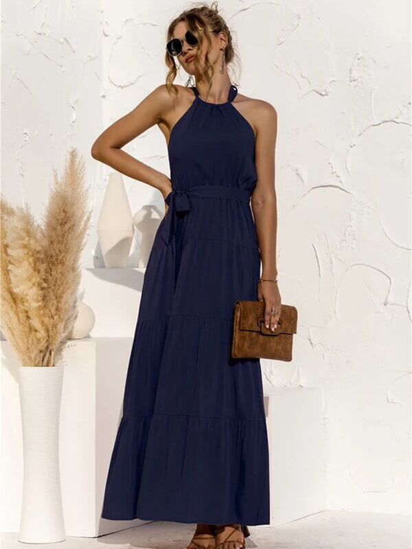 Tie Waist Round-Neck Spaghetti Strap Backless Maxi Dress