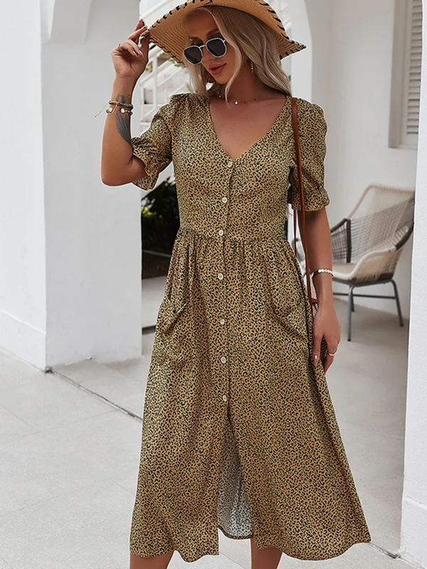 Short Sleeve Button Front Split Maxi Dress