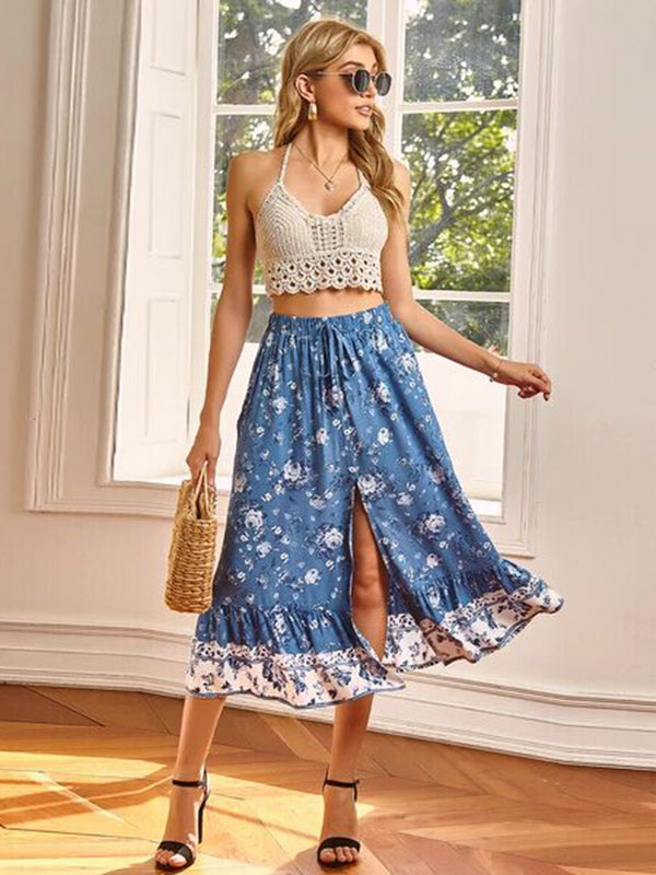 High Waist Casual Side Split Floral Midi Skirt