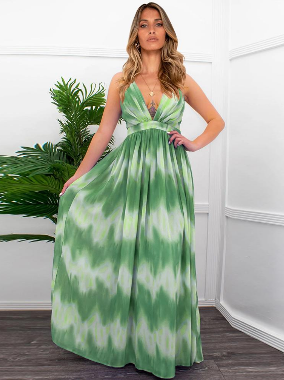 Deep V Neck Backless Cross Straps Long Maxi Dress