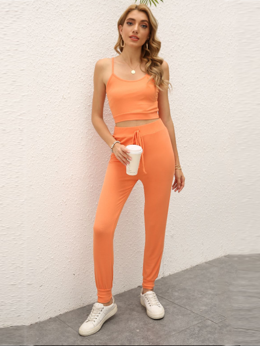 2 Piece Sexy Spaghetti Tank Top with Long Pants