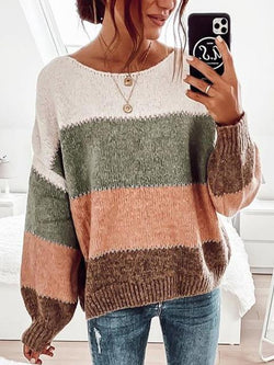 Striped Color Contrast Pullover Sweater