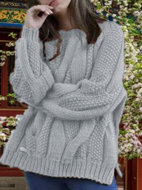 Round Neck Solid Casual Pullover Sweater