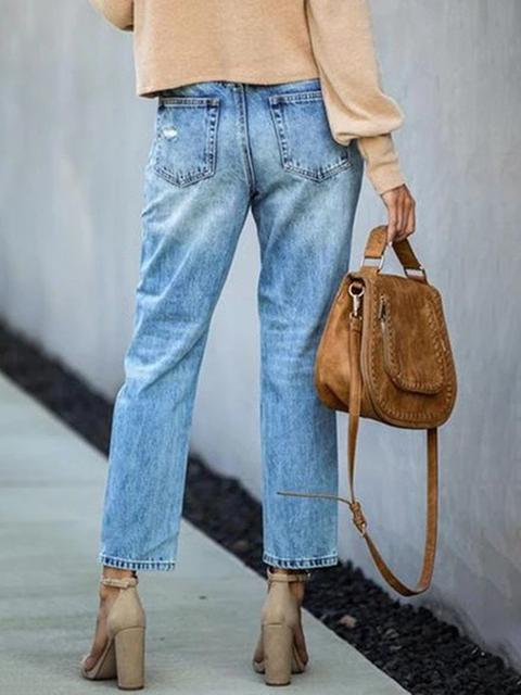 Straight  Ripped  Denim Pants