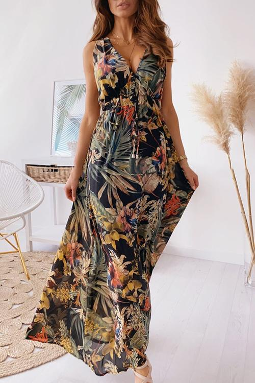 Floral Print Tie Back Beach Party Dresses