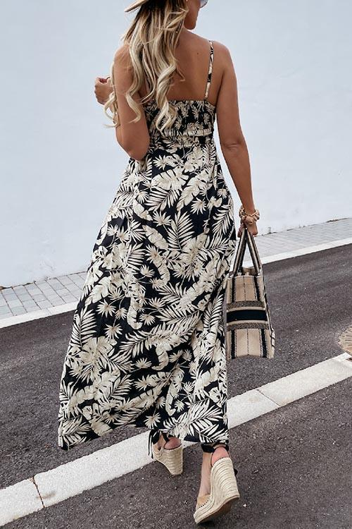 Summer Leaf Print Suspender Maxi Dress