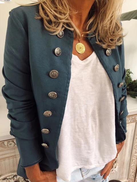 Cotton Stand Collar Short Fitted Blazer Jacket