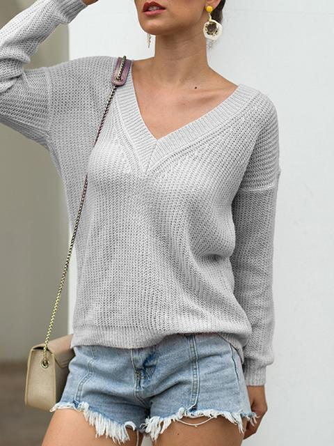 Solid V-neck Knitted Lightweight Sweater