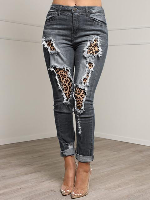 Stitched Leopard Slim Hole Jeans