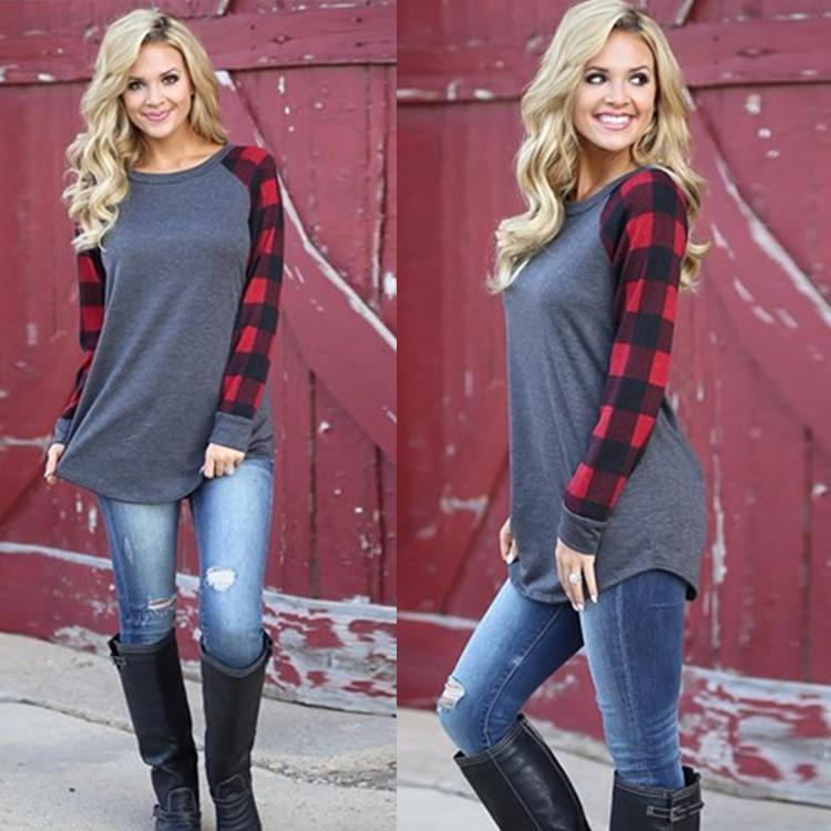 Wheat Plaid Long Sleeve Pullover Crew Neck Top