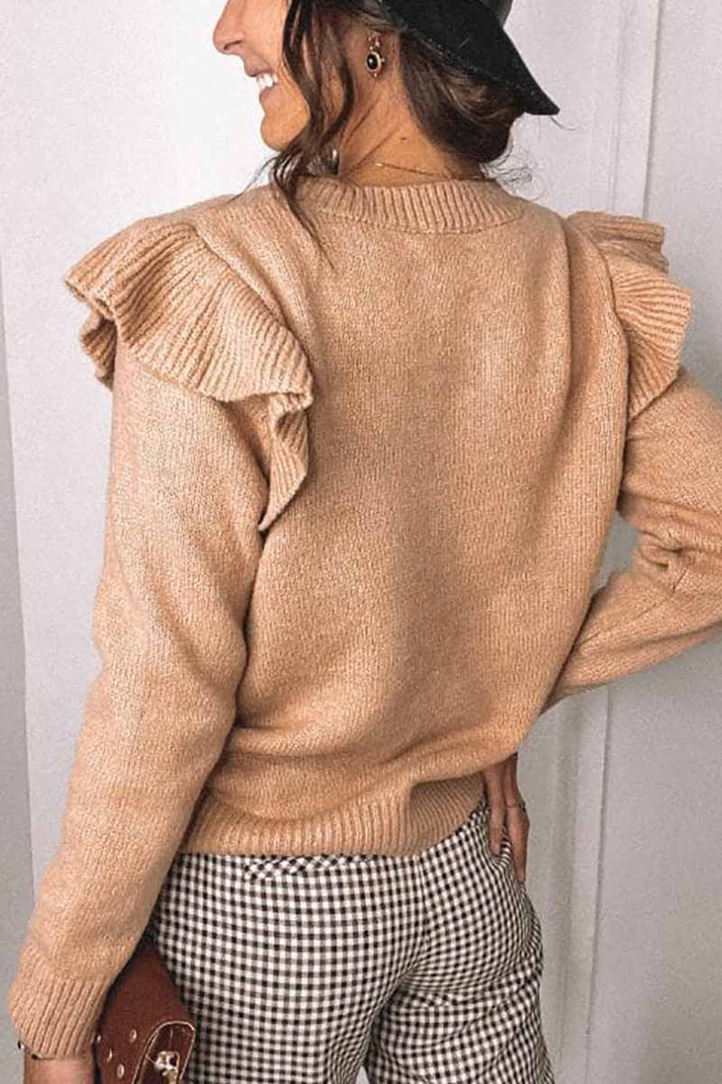 Solid Color Ruffle Knitted Sweater