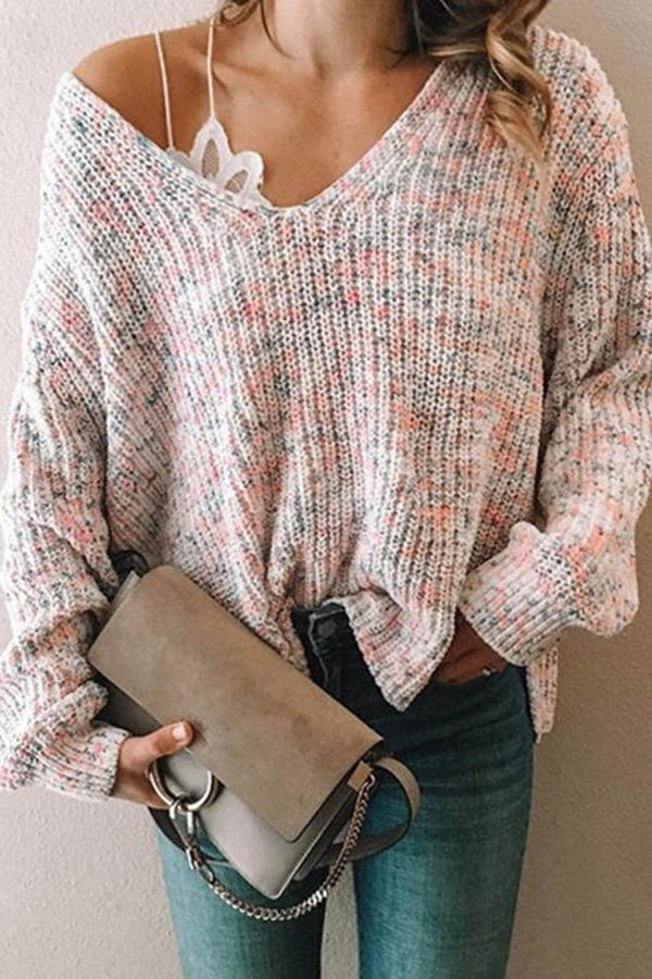 Knitted Casual V-neck Sweater