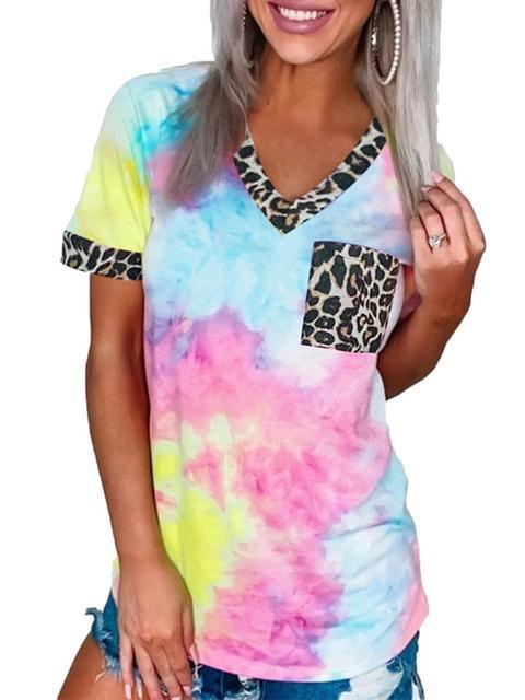 Tie-dye Leopard Stitching Pocket T-shirt