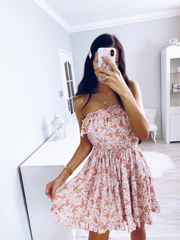 Off Shoulder Chest Wrap Floral Ruffle Mini Dress