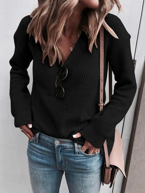 V-Neck Solid Color Knitted Sweater
