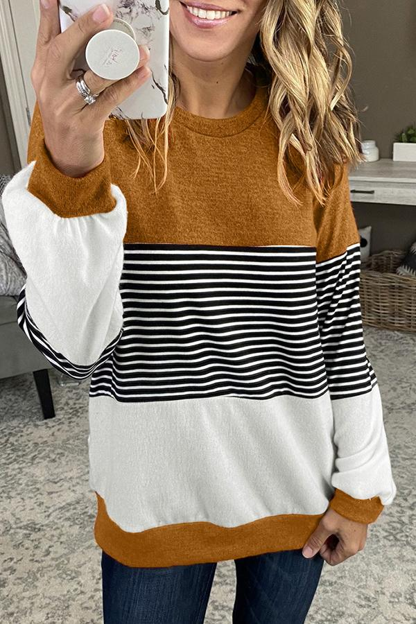 Colorblock Stripy Sweatshirt