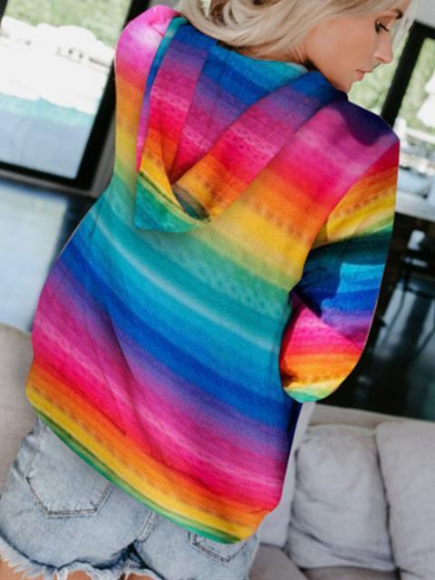 Rainbow Printed Casual Hooded Sweatshirt