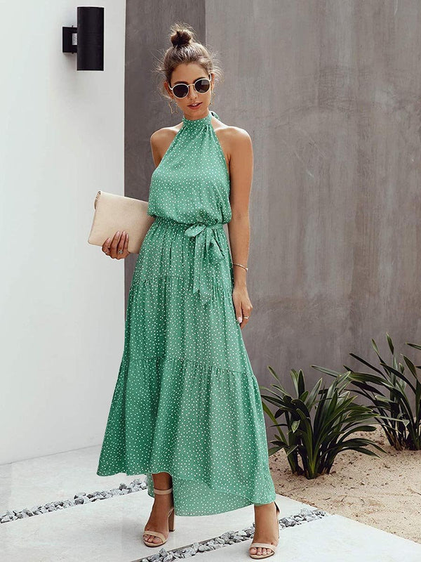 Halter Neck Backless Maxi Dress