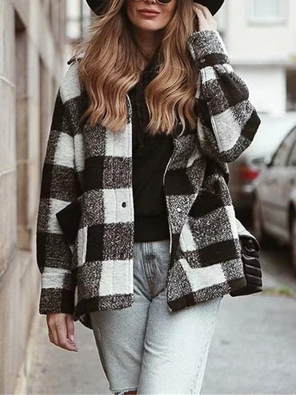 Plaid Checkered Black Button Pocket Coat