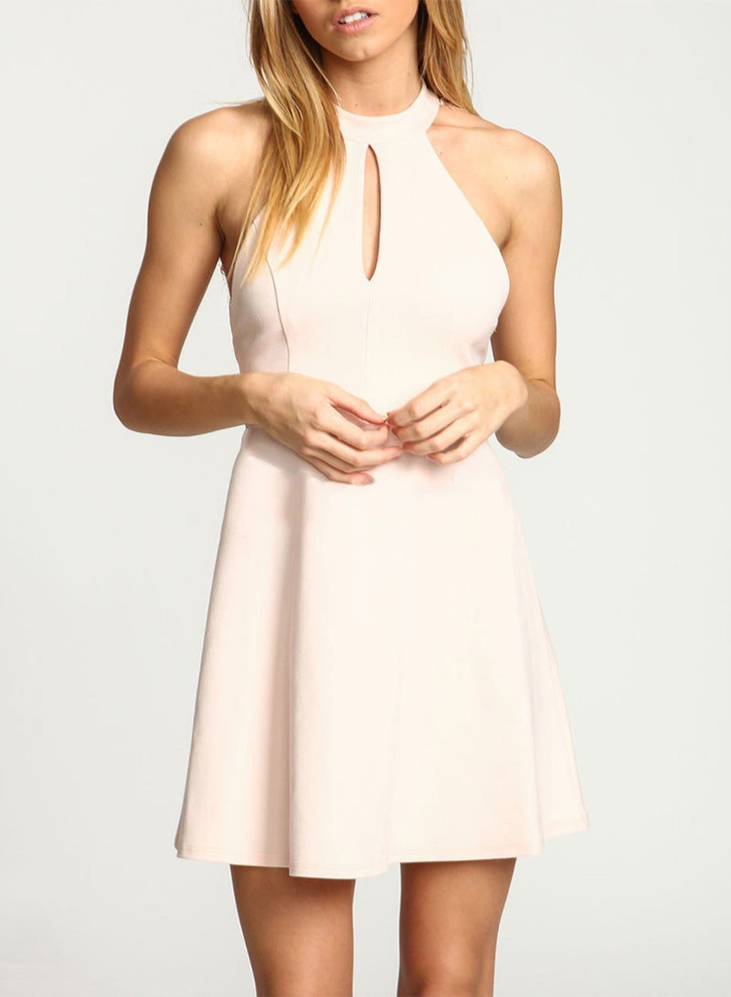 Lace Panel Backless Mini Dress - Landing Closet