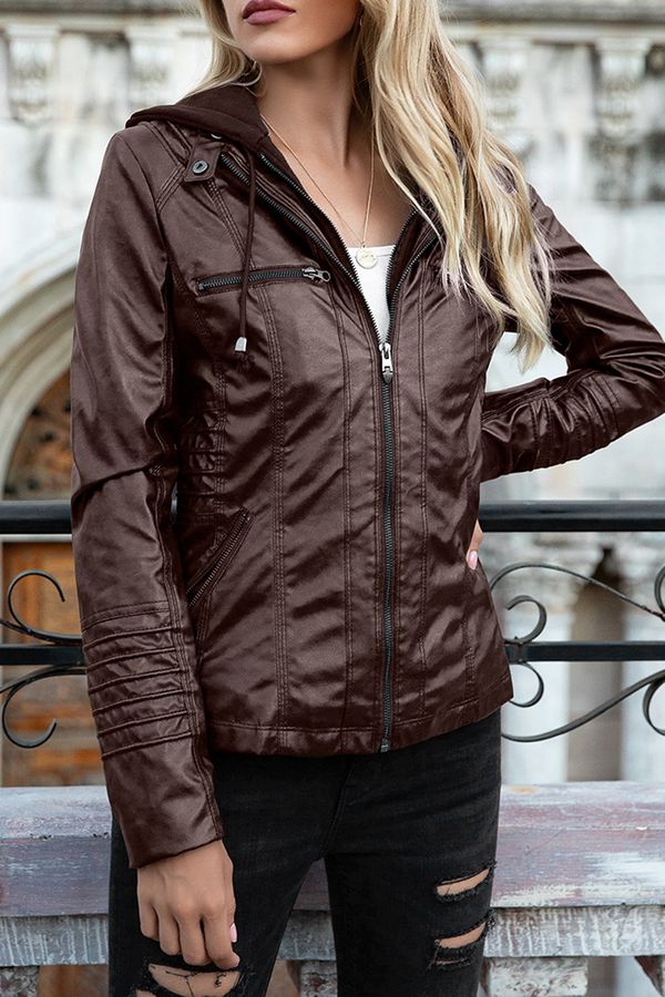PU Detachable Hooded Jacket