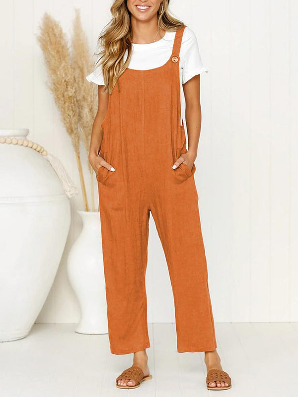 Pocket Solid Wide Leg Strappy Jumpsuit Overalls