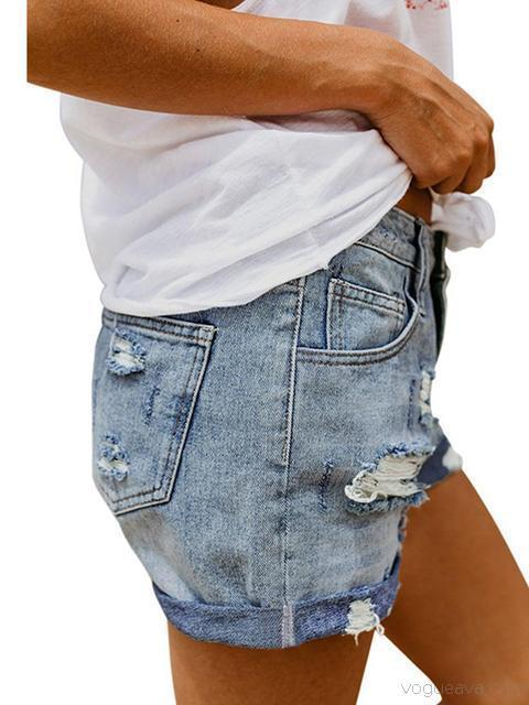 Ripped Crimping Denim Shorts