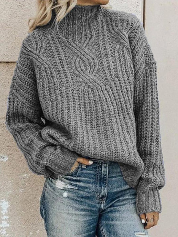 Turtleneck Twist Solid Knitted Sweater