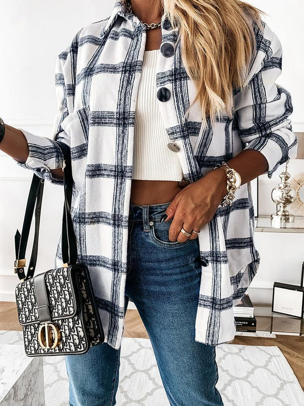 Retro Plaid Button Lapel Pocket Coat