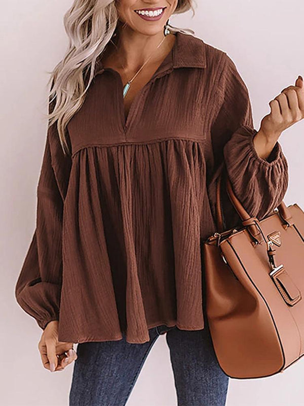 Lapel  V-neck Lantern Sleeve Pleated Blouse