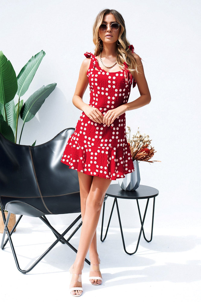 Geometric Pattern Red Dress - Landing Closet