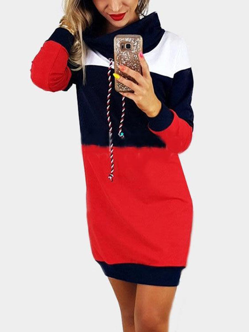 Navy Polo Neck With Drawstring Stitching Design Pullover Dress - Landing Closet