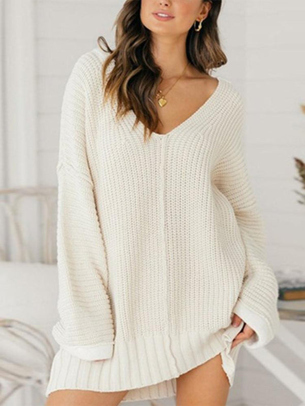 Loose V-neck Solid Dress Sweater