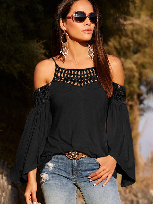 Black Long Sleeve Off Shoulder Backless T-shirt - Landing Closet