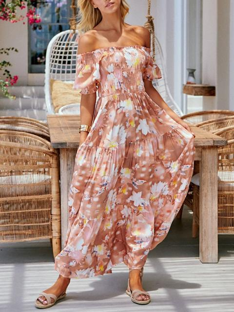 Bohemia Flower Print Long Dress