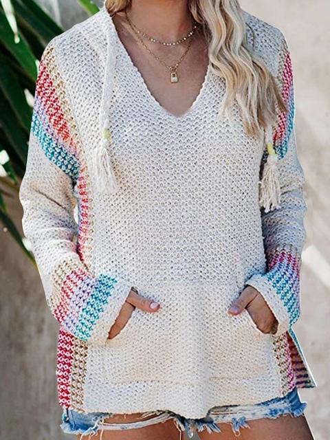 Boho Hooded Jumper Sweater With Pocket