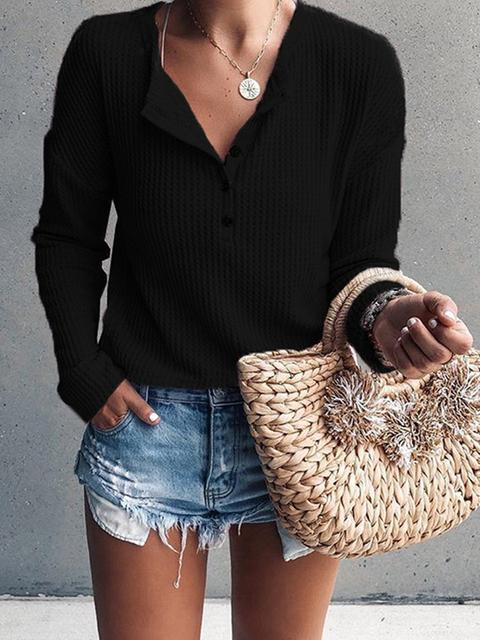 Button V Neck Slim Sweater