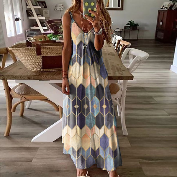 Spaghetti Strap Backless Sleeveless Tie-dye Long Maxi Dress