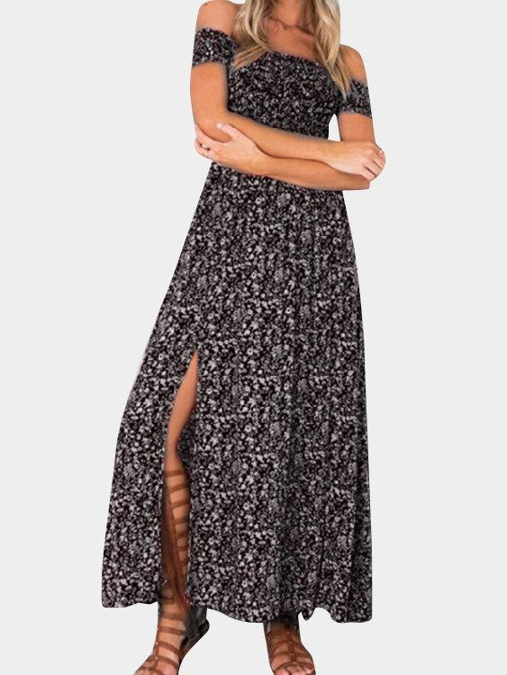 Floral Print Off Shoulder Splited Hem Maxi Dresses - Landing Closet