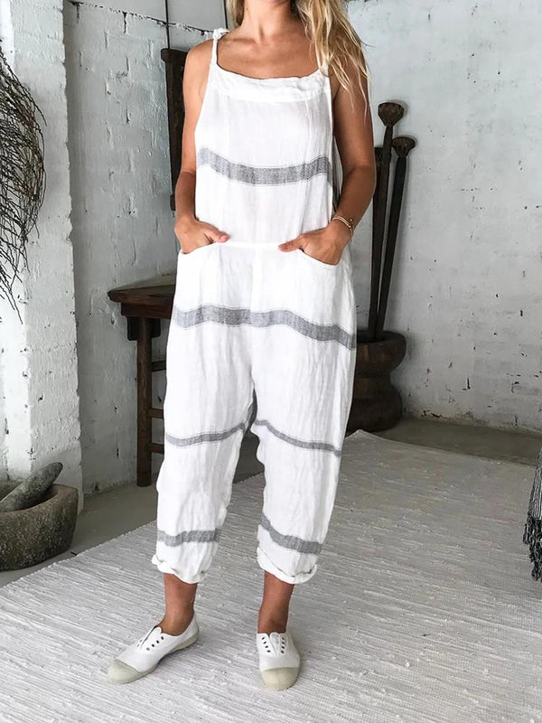 Striped Lace-up Pocket Loose Jumpsuit