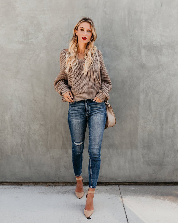 Loose Long Sleeve Knit V-neck Sweater