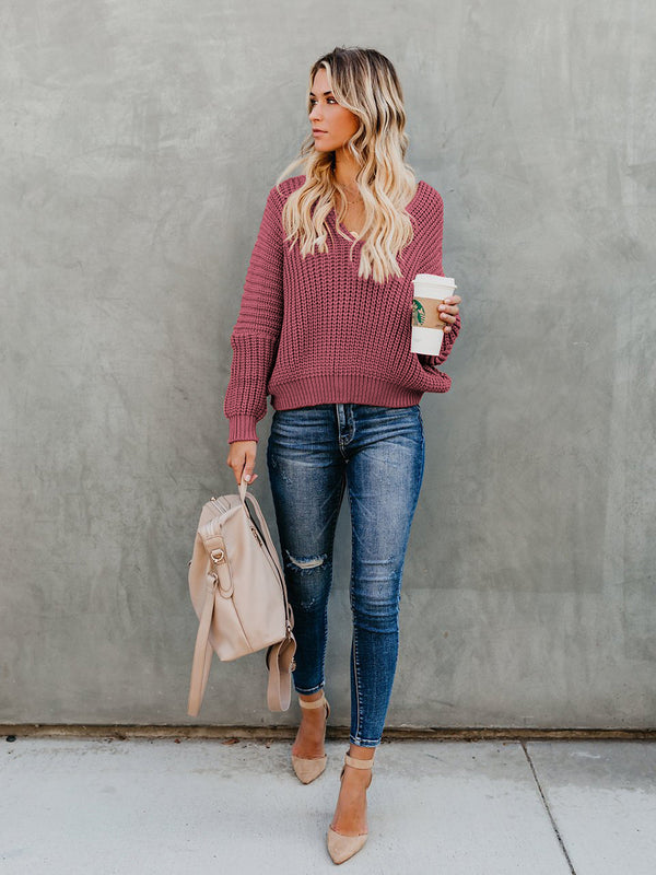 IndianRed Loose Long Sleeve Knit V-neck Sweater