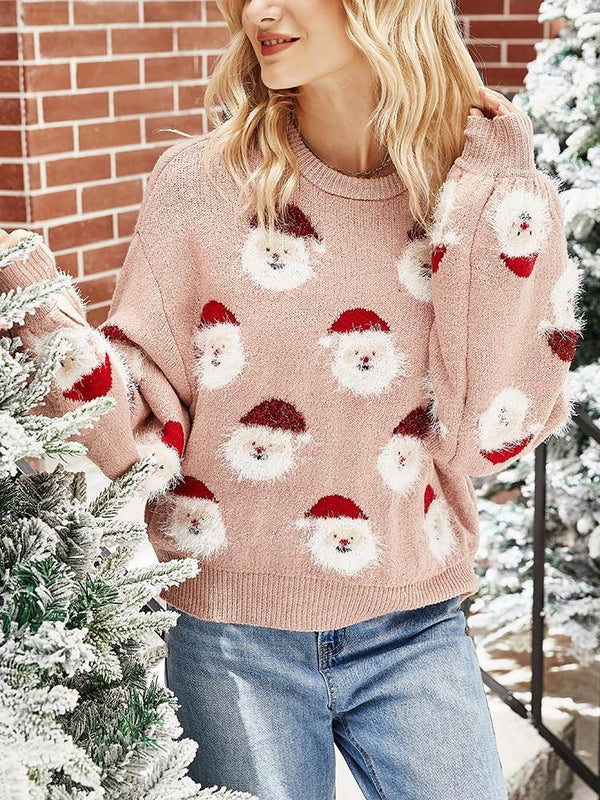 Christmas Santa Claus Bat Sleeve Sweater