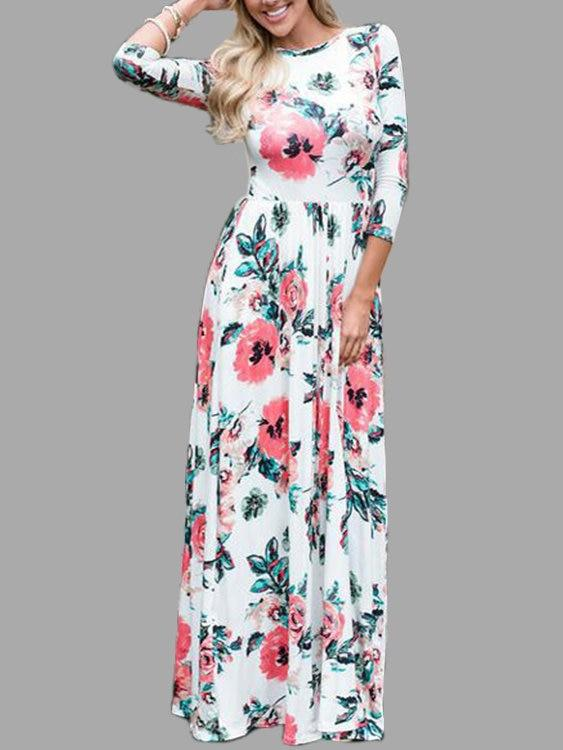 White Random Floral Print 3-4 Length Sleeves Maxi Dresses