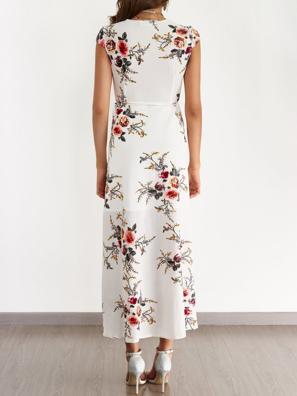 White V-neck Random Floral Print Self-tie Dress