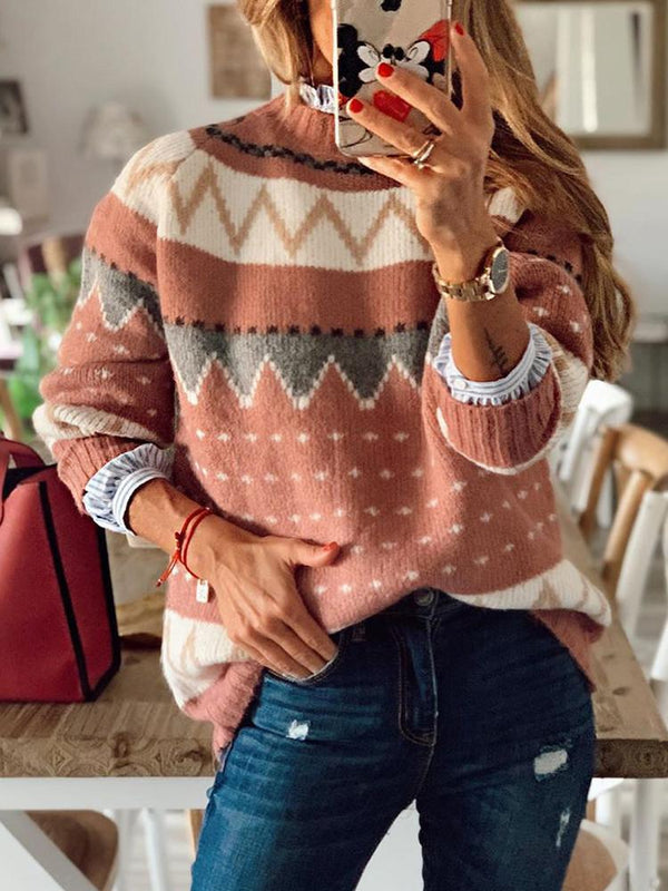 Geometric Hit Color Half Turtleneck Sweater