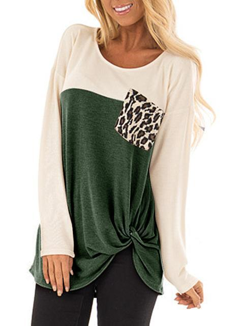 Color Block Leopard Pocket Twisted Tops