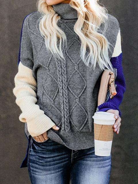 Colorblock Cable Knit Sweater