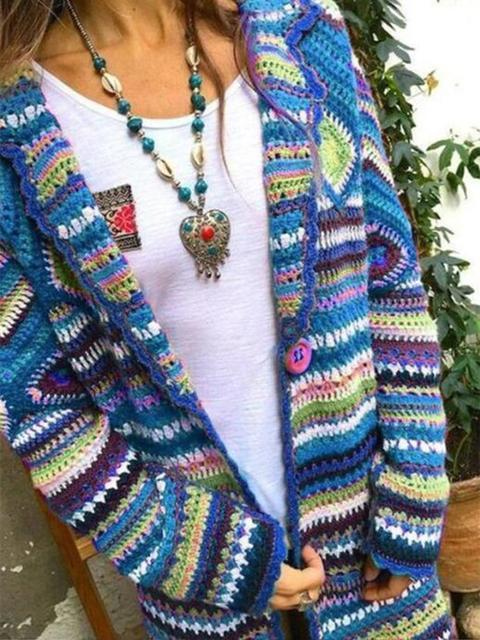 Colorful Knitted Sweater Cardigan