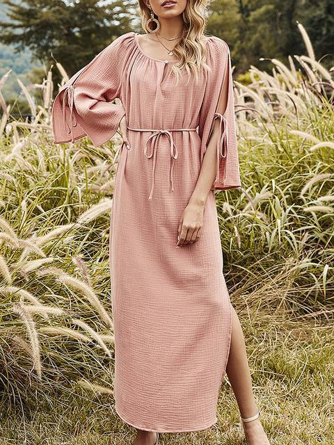 Crew Neck Solid Shift Midi Long Sleeve Dress